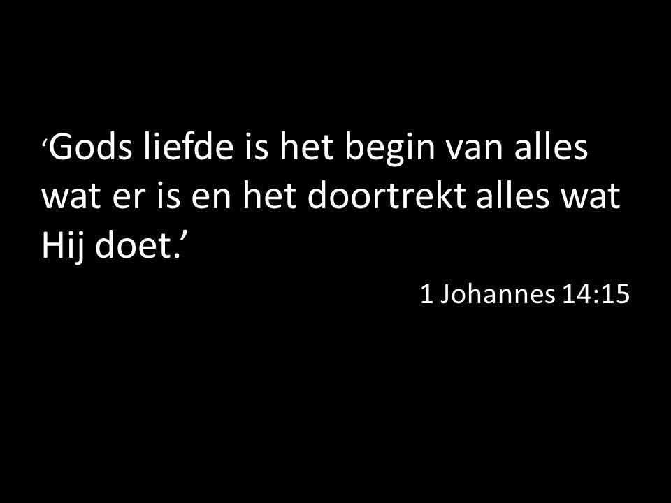' Gods liefde is het begin van alles wat er is en het doortrekt alles wat Hij doet.' 1 Johannes 14:15