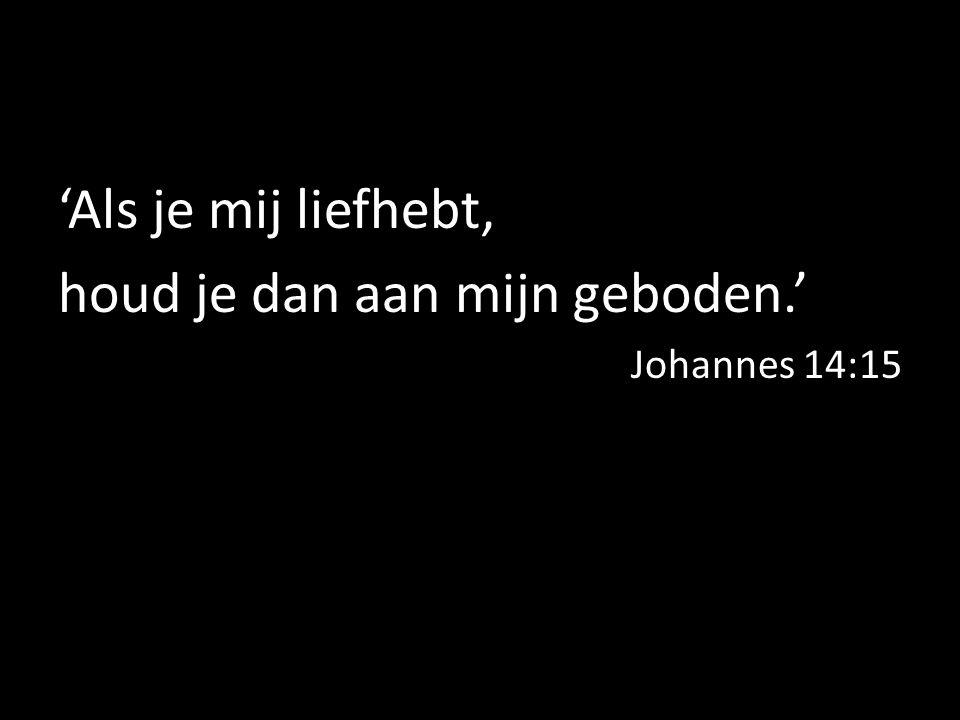 'Als je mij liefhebt, houd je dan aan mijn geboden.' Johannes 14:15