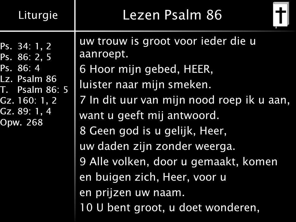 Liturgie Ps.34: 1, 2 Ps.86: 2, 5 Ps.86: 4 Lz.Psalm 86 T.Psalm 86: 5 Gz.160: 1, 2 Gz.89: 1, 4 Opw.268 Lezen Psalm 86 uw trouw is groot voor ieder die u