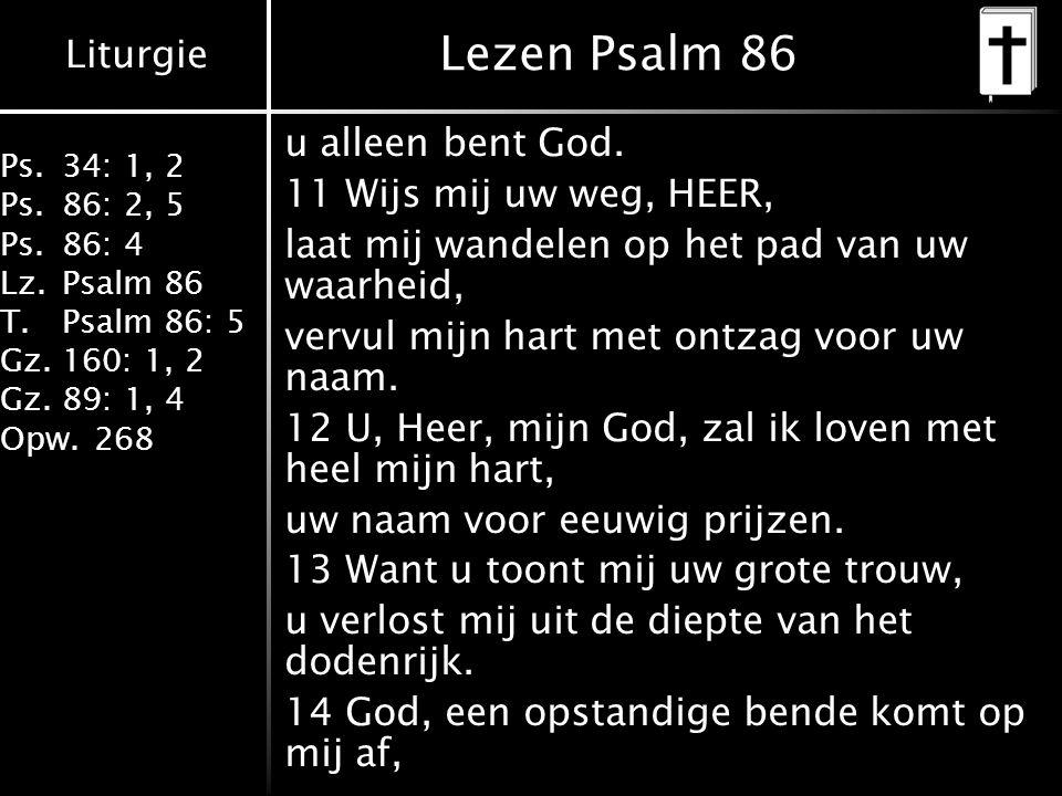 Liturgie Ps.34: 1, 2 Ps.86: 2, 5 Ps.86: 4 Lz.Psalm 86 T.Psalm 86: 5 Gz.160: 1, 2 Gz.89: 1, 4 Opw.268 Lezen Psalm 86 u alleen bent God. 11 Wijs mij uw