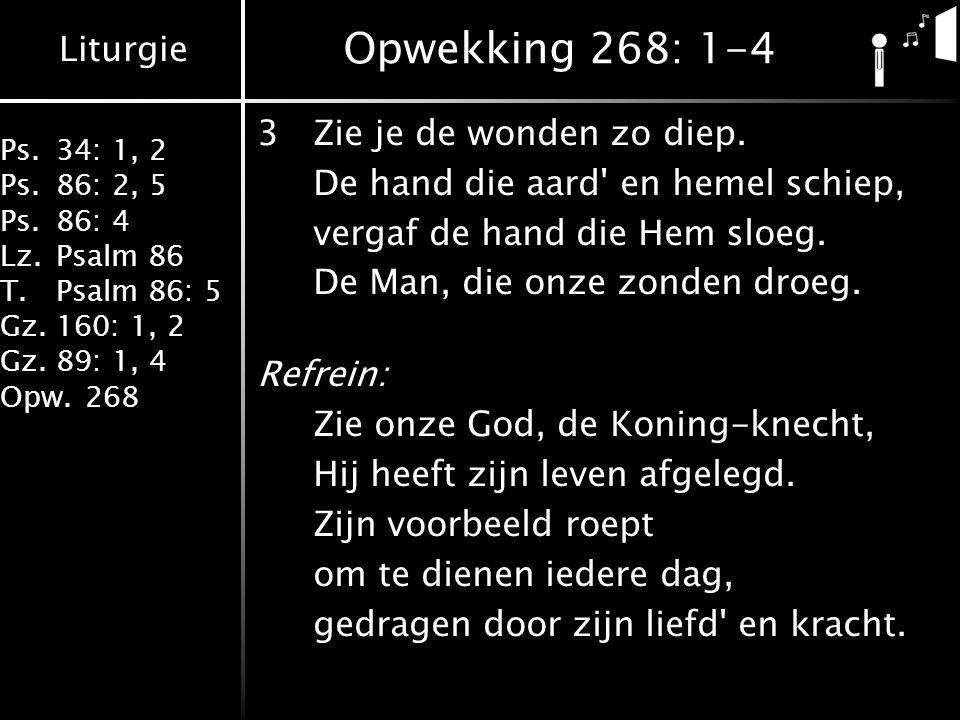 Liturgie Ps.34: 1, 2 Ps.86: 2, 5 Ps.86: 4 Lz.Psalm 86 T.Psalm 86: 5 Gz.160: 1, 2 Gz.89: 1, 4 Opw.268 Opwekking 268: 1-4 3Zie je de wonden zo diep. De
