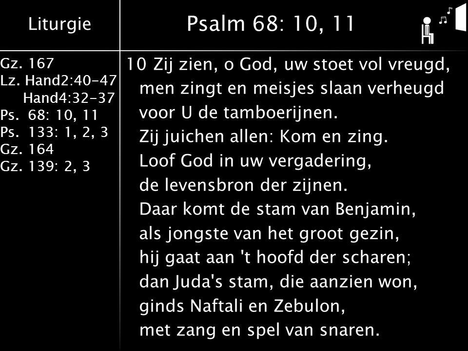 Liturgie Gz. 167 Lz. Hand2:40-47 Hand4:32-37 Ps.68: 10, 11 Ps.133: 1, 2, 3 Gz.164 Gz.139: 2, 3 10Zij zien, o God, uw stoet vol vreugd, men zingt en me