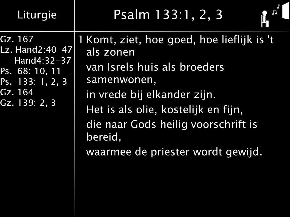 Liturgie Gz. 167 Lz. Hand2:40-47 Hand4:32-37 Ps.68: 10, 11 Ps.133: 1, 2, 3 Gz.164 Gz.139: 2, 3 1Komt, ziet, hoe goed, hoe lieflijk is 't als zonen van