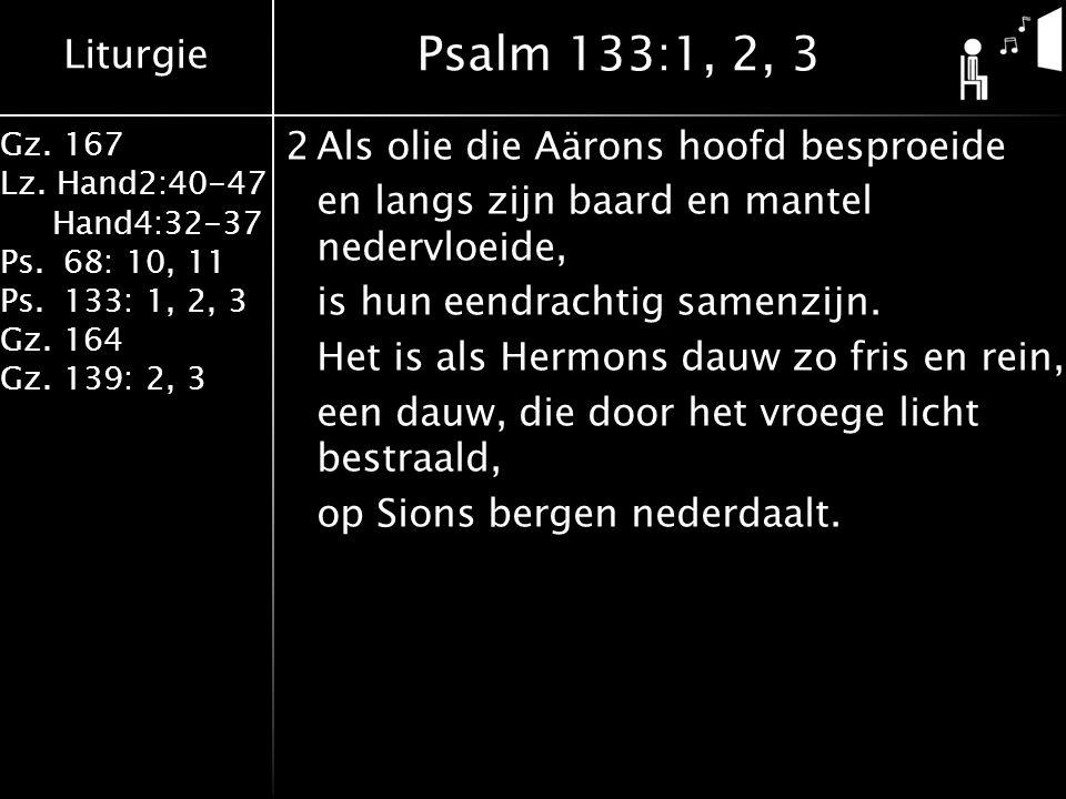 Liturgie Gz. 167 Lz. Hand2:40-47 Hand4:32-37 Ps.68: 10, 11 Ps.133: 1, 2, 3 Gz.164 Gz.139: 2, 3 2Als olie die Aärons hoofd besproeide en langs zijn baa