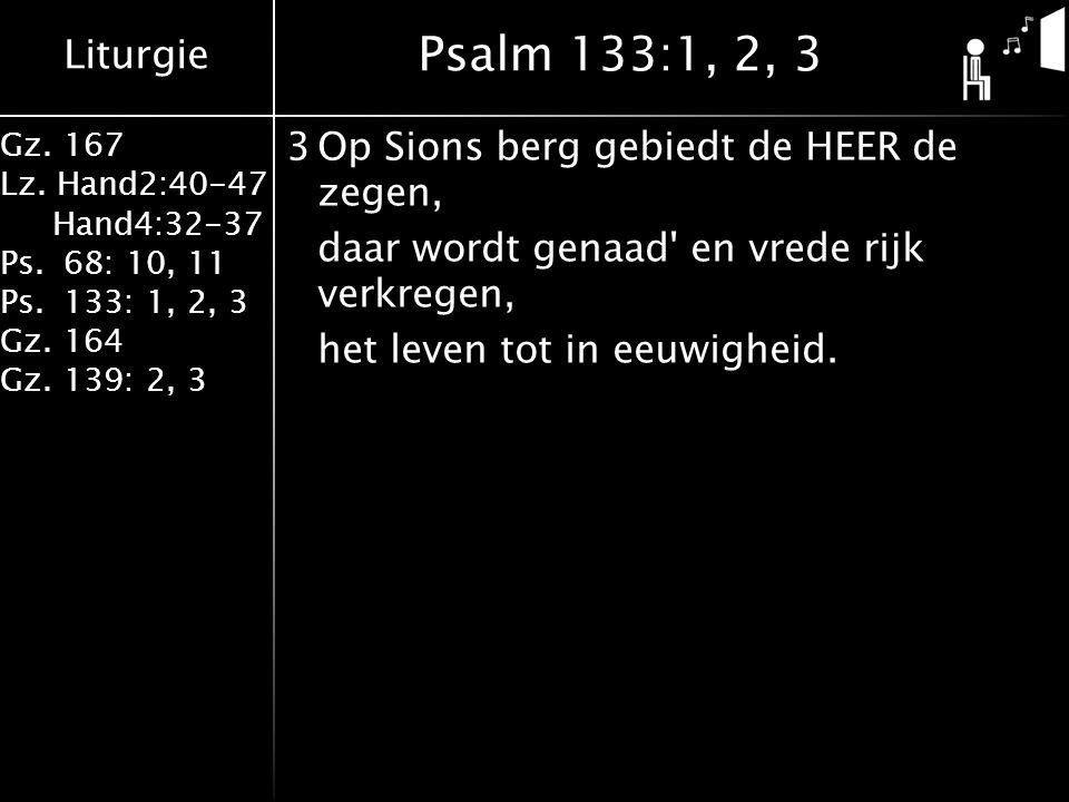 Liturgie Gz. 167 Lz. Hand2:40-47 Hand4:32-37 Ps.68: 10, 11 Ps.133: 1, 2, 3 Gz.164 Gz.139: 2, 3 3Op Sions berg gebiedt de HEER de zegen, daar wordt gen