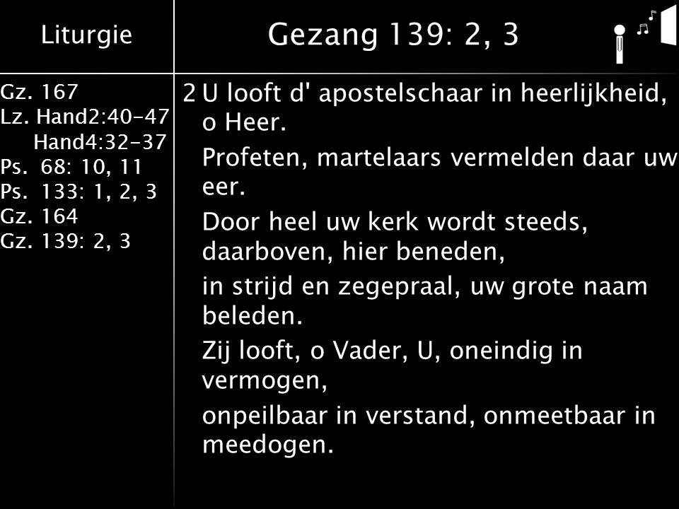 Liturgie Gz. 167 Lz. Hand2:40-47 Hand4:32-37 Ps.68: 10, 11 Ps.133: 1, 2, 3 Gz.164 Gz.139: 2, 3 2U looft d' apostelschaar in heerlijkheid, o Heer. Prof
