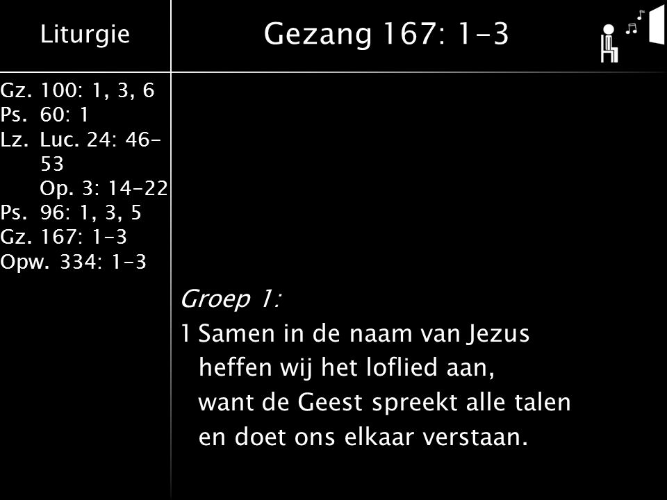 Liturgie Gz.100: 1, 3, 6 Ps.60: 1 Lz.Luc. 24: 46- 53 Op. 3: 14-22 Ps.96: 1, 3, 5 Gz.167: 1-3 Opw.334: 1-3 Groep 1: 1Samen in de naam van Jezus heffen