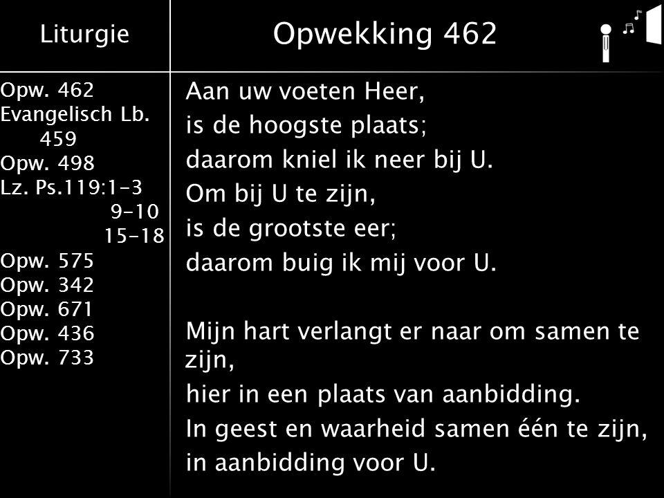 Liturgie Opw. 462 Evangelisch Lb. 459 Opw. 498 Lz. Ps.119:1-3 9-10 15-18 Opw. 575 Opw. 342 Opw. 671 Opw. 436 Opw. 733 Aan uw voeten Heer, is de hoogst