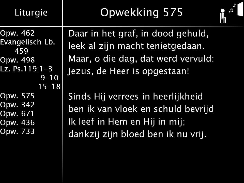 Liturgie Opw. 462 Evangelisch Lb. 459 Opw. 498 Lz. Ps.119:1-3 9-10 15-18 Opw. 575 Opw. 342 Opw. 671 Opw. 436 Opw. 733 Opwekking 575 Daar in het graf,