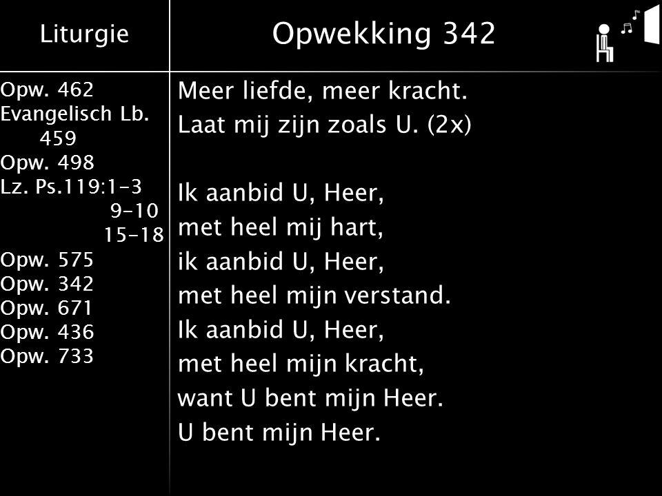 Liturgie Opw. 462 Evangelisch Lb. 459 Opw. 498 Lz. Ps.119:1-3 9-10 15-18 Opw. 575 Opw. 342 Opw. 671 Opw. 436 Opw. 733 Meer liefde, meer kracht. Laat m