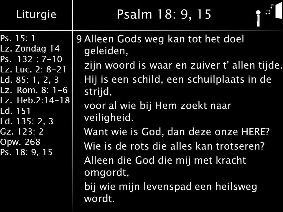 Liturgie Ps. 15: 1 Lz. Zondag 14 Ps.132 : 7-10 Lz. Luc. 2: 8-21 Ld. 85: 1, 2, 3 Lz.Rom. 8: 1-6 Lz.Heb.2:14-18 Ld. 151 Ld. 135: 2, 3 Gz.123: 2 Opw. 268