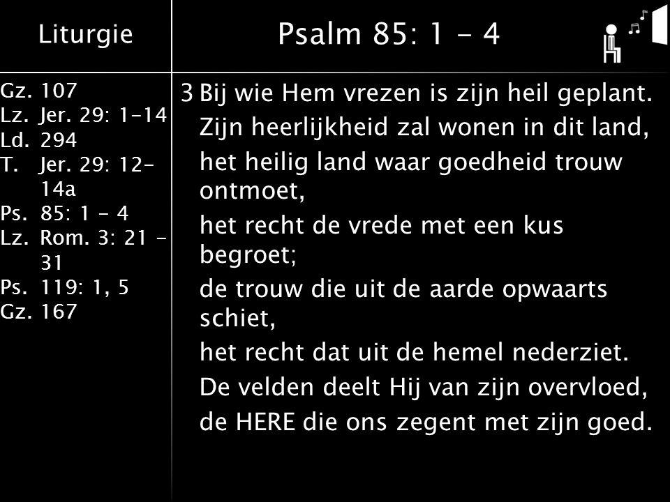 Liturgie Gz.107 Lz.Jer. 29: 1-14 Ld.294 T.Jer. 29: 12- 14a Ps.85: 1 - 4 Lz.Rom. 3: 21 - 31 Ps.119: 1, 5 Gz.167 3Bij wie Hem vrezen is zijn heil geplan