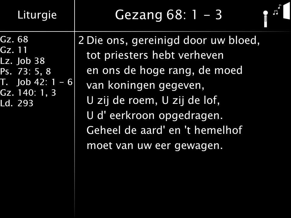 Liturgie Gz.68 Gz.11 Lz.Job 38 Ps.73: 5, 8 T.Job 42: 1 - 6 Gz.140: 1, 3 Ld.293 2Die ons, gereinigd door uw bloed, tot priesters hebt verheven en ons de hoge rang, de moed van koningen gegeven, U zij de roem, U zij de lof, U d eerkroon opgedragen.