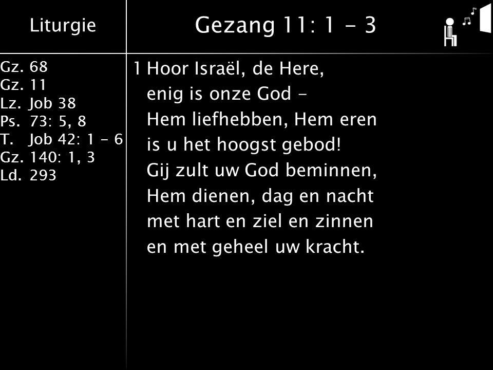 Liturgie Gz.68 Gz.11 Lz.Job 38 Ps.73: 5, 8 T.Job 42: 1 - 6 Gz.140: 1, 3 Ld.293 1Hoor Israël, de Here, enig is onze God - Hem liefhebben, Hem eren is u het hoogst gebod.