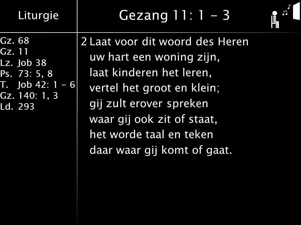 Liturgie Gz.68 Gz.11 Lz.Job 38 Ps.73: 5, 8 T.Job 42: 1 - 6 Gz.140: 1, 3 Ld.293 Gezang 11: 1 - 3 2Laat voor dit woord des Heren uw hart een woning zijn, laat kinderen het leren, vertel het groot en klein; gij zult erover spreken waar gij ook zit of staat, het worde taal en teken daar waar gij komt of gaat.