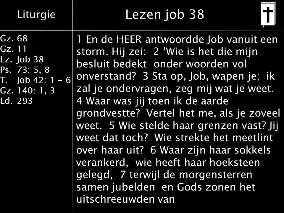 Liturgie Gz.68 Gz.11 Lz.Job 38 Ps.73: 5, 8 T.Job 42: 1 - 6 Gz.140: 1, 3 Ld.293 1 En de HEER antwoordde Job vanuit een storm. Hij zei: 2 'Wie is het di