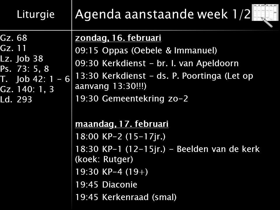 Liturgie Gz.68 Gz.11 Lz.Job 38 Ps.73: 5, 8 T.Job 42: 1 - 6 Gz.140: 1, 3 Ld.293 Agenda aanstaande week 1/2 zondag, 16. februari 09:15 Oppas (Oebele & I