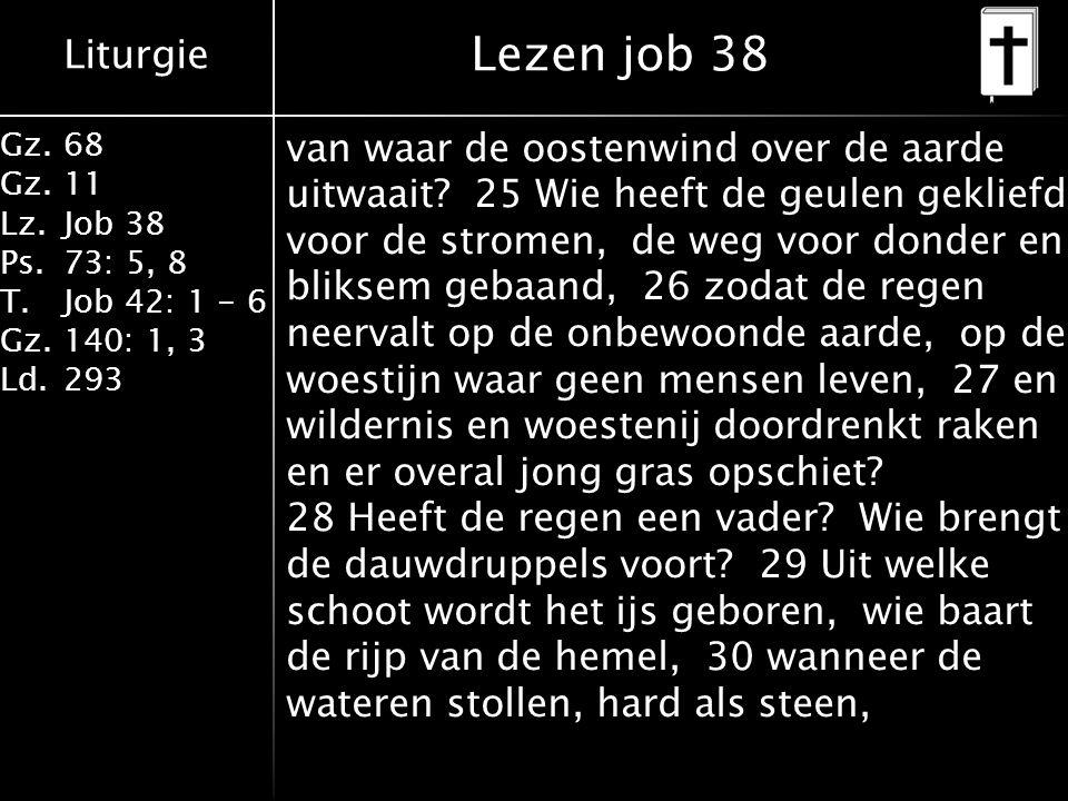 Liturgie Gz.68 Gz.11 Lz.Job 38 Ps.73: 5, 8 T.Job 42: 1 - 6 Gz.140: 1, 3 Ld.293 van waar de oostenwind over de aarde uitwaait? 25 Wie heeft de geulen g
