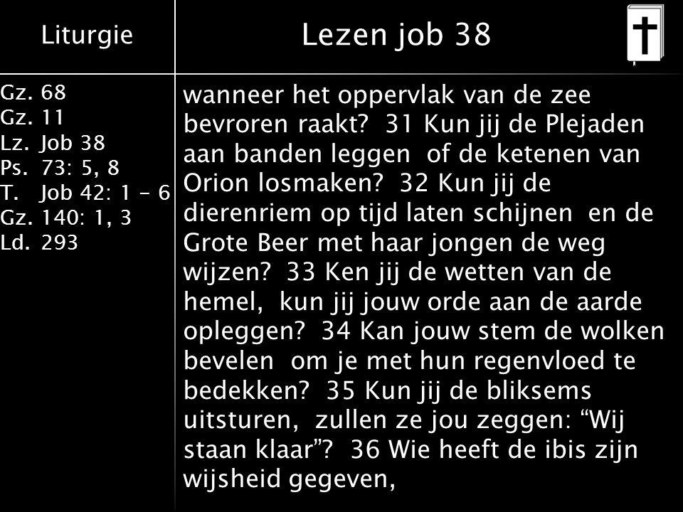 Liturgie Gz.68 Gz.11 Lz.Job 38 Ps.73: 5, 8 T.Job 42: 1 - 6 Gz.140: 1, 3 Ld.293 wanneer het oppervlak van de zee bevroren raakt? 31 Kun jij de Plejaden