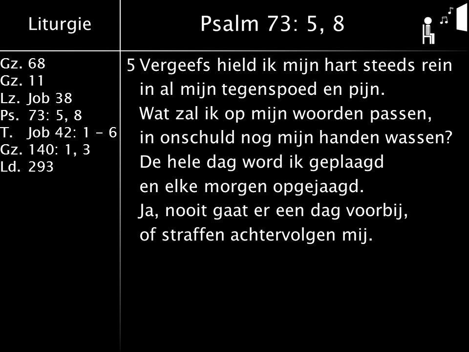 Liturgie Gz.68 Gz.11 Lz.Job 38 Ps.73: 5, 8 T.Job 42: 1 - 6 Gz.140: 1, 3 Ld.293 5Vergeefs hield ik mijn hart steeds rein in al mijn tegenspoed en pijn.