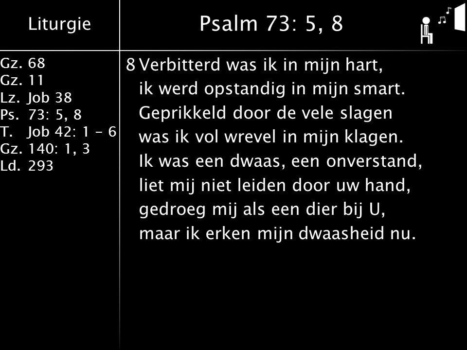 Liturgie Gz.68 Gz.11 Lz.Job 38 Ps.73: 5, 8 T.Job 42: 1 - 6 Gz.140: 1, 3 Ld.293 8Verbitterd was ik in mijn hart, ik werd opstandig in mijn smart. Gepri