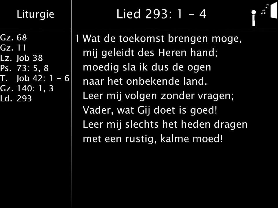 Liturgie Gz.68 Gz.11 Lz.Job 38 Ps.73: 5, 8 T.Job 42: 1 - 6 Gz.140: 1, 3 Ld.293 1Wat de toekomst brengen moge, mij geleidt des Heren hand; moedig sla ik dus de ogen naar het onbekende land.