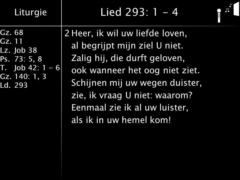 Liturgie Gz.68 Gz.11 Lz.Job 38 Ps.73: 5, 8 T.Job 42: 1 - 6 Gz.140: 1, 3 Ld.293 2Heer, ik wil uw liefde loven, al begrijpt mijn ziel U niet. Zalig hij,