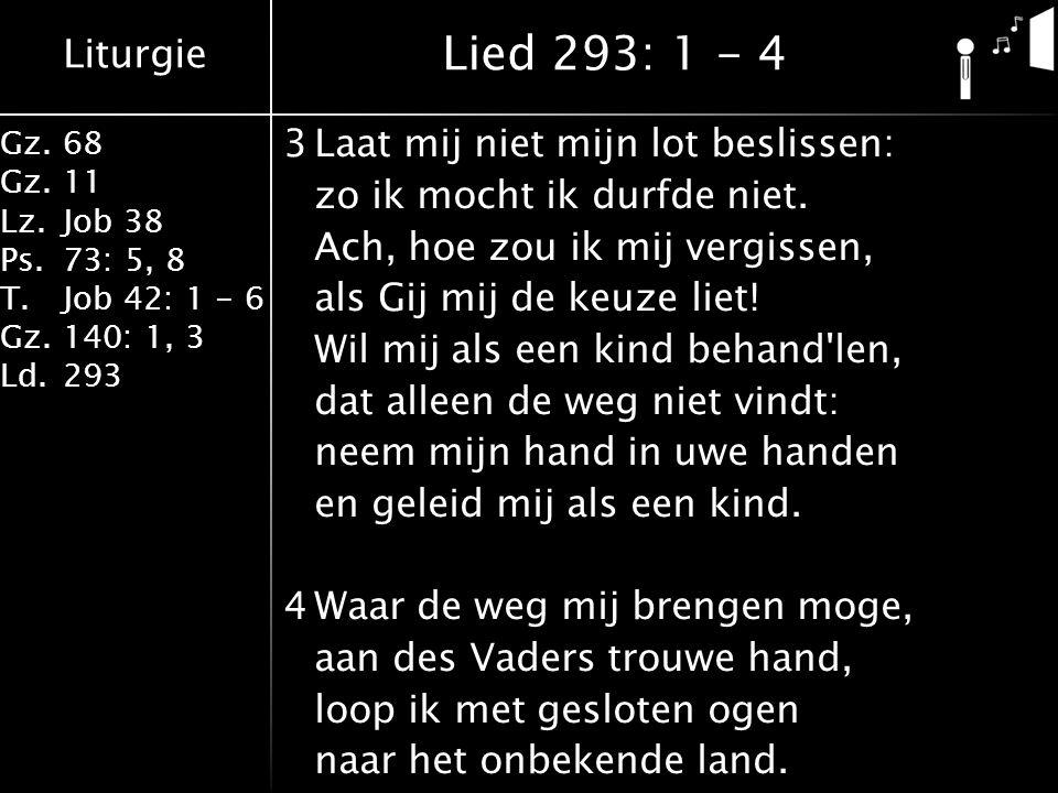 Liturgie Gz.68 Gz.11 Lz.Job 38 Ps.73: 5, 8 T.Job 42: 1 - 6 Gz.140: 1, 3 Ld.293 3Laat mij niet mijn lot beslissen: zo ik mocht ik durfde niet. Ach, hoe