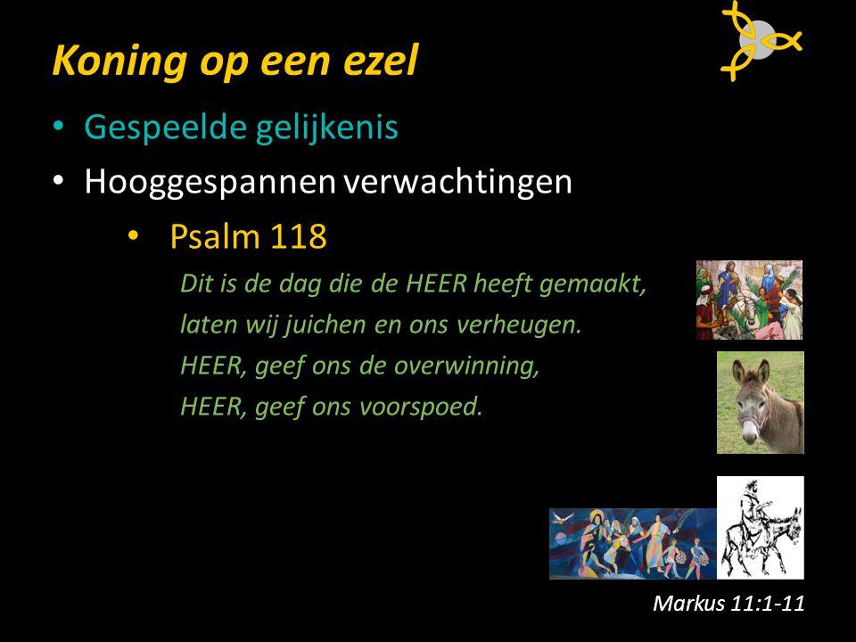 Koning op een ezel Gespeelde gelijkenis Hooggespannen verwachtingen Psalm 118 Dit is de dag die de HEER heeft gemaakt, laten wij juichen en ons verheugen.