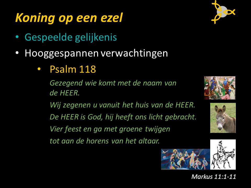 Koning op een ezel Gespeelde gelijkenis Hooggespannen verwachtingen Psalm 118 Gezegend wie komt met de naam van de HEER.