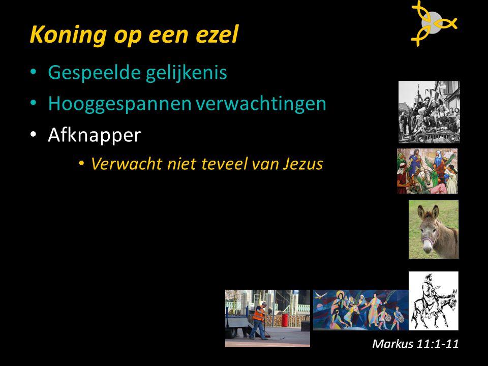 Koning op een ezel Gespeelde gelijkenis Hooggespannen verwachtingen Afknapper Verwacht niet teveel van Jezus Markus 11:1-11
