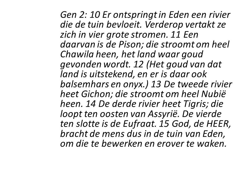 Gen 2: 10 Er ontspringt in Eden een rivier die de tuin bevloeit.