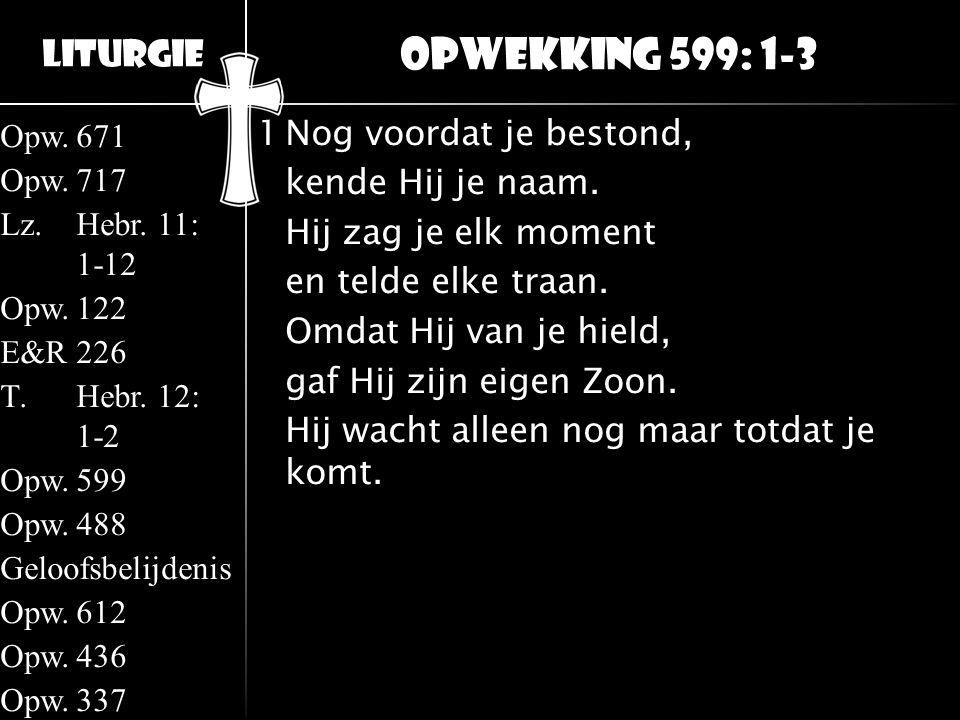 Liturgie Opw.671 Opw.717 Lz.Hebr. 11: 1-12 Opw.122 E&R226 T.Hebr. 12: 1-2 Opw.599 Opw.488 Geloofsbelijdenis Opw.612 Opw.436 Opw.337 1Nog voordat je be