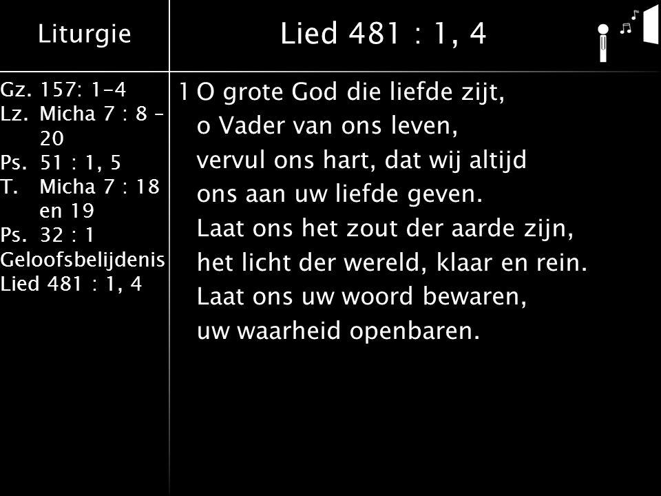 Liturgie Gz.157: 1-4 Lz.Micha 7 : 8 – 20 Ps.51 : 1, 5 T.Micha 7 : 18 en 19 Ps.32 : 1 Geloofsbelijdenis Lied 481 : 1, 4 1O grote God die liefde zijt, o Vader van ons leven, vervul ons hart, dat wij altijd ons aan uw liefde geven.