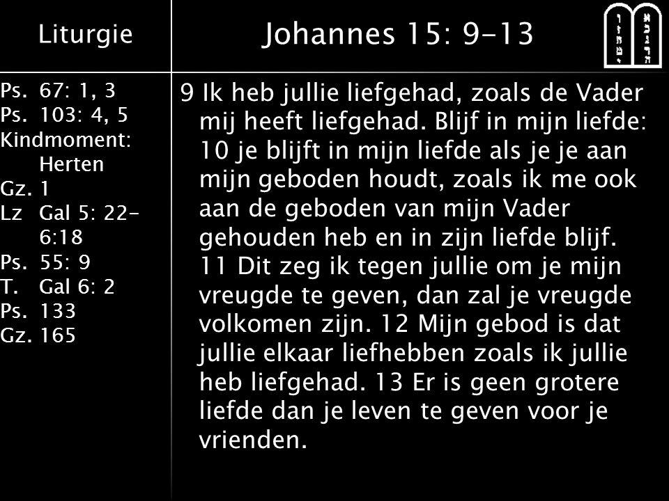 Liturgie Ps.67: 1, 3 Ps.103: 4, 5 Kindmoment: Herten Gz.1 LzGal 5: 22- 6:18 Ps.55: 9 T.Gal 6: 2 Ps.133 Gz.165 9 Ik heb jullie liefgehad, zoals de Vader mij heeft liefgehad.