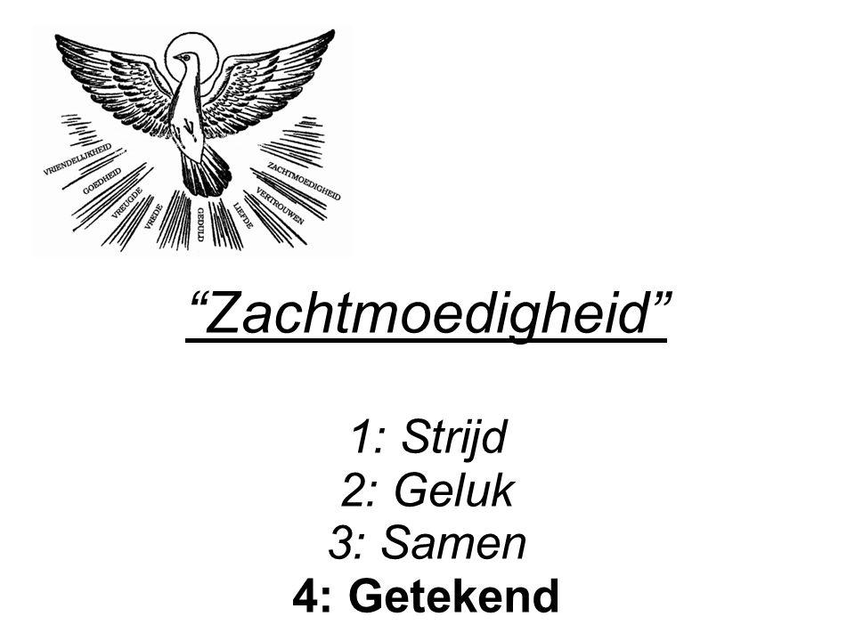 """""""Zachtmoedigheid"""" 1: Strijd 2: Geluk 3: Samen 4: Getekend"""
