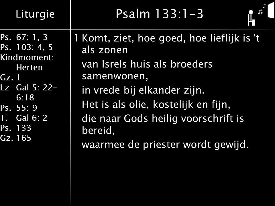 Liturgie Ps.67: 1, 3 Ps.103: 4, 5 Kindmoment: Herten Gz.1 LzGal 5: 22- 6:18 Ps.55: 9 T.Gal 6: 2 Ps.133 Gz.165 1Komt, ziet, hoe goed, hoe lieflijk is t als zonen van Isrels huis als broeders samenwonen, in vrede bij elkander zijn.