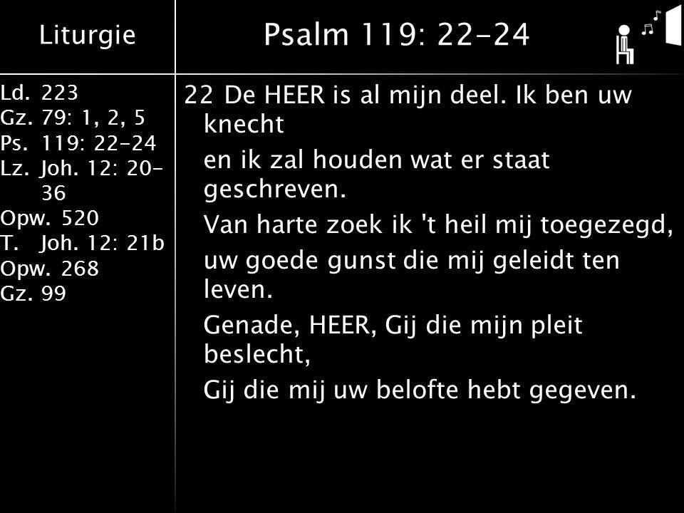 Liturgie Ld.223 Gz.79: 1, 2, 5 Ps.119: 22-24 Lz.Joh. 12: 20- 36 Opw.520 T.Joh. 12: 21b Opw.268 Gz.99 22De HEER is al mijn deel. Ik ben uw knecht en ik
