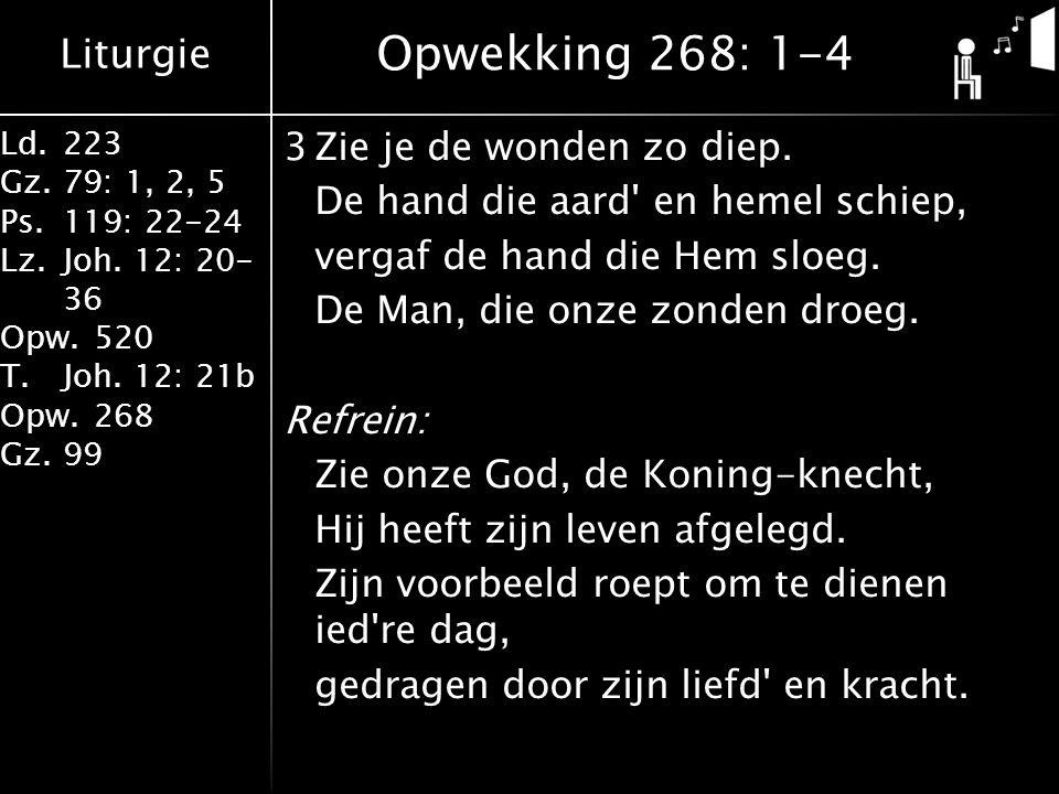 Liturgie Ld.223 Gz.79: 1, 2, 5 Ps.119: 22-24 Lz.Joh. 12: 20- 36 Opw.520 T.Joh. 12: 21b Opw.268 Gz.99 3Zie je de wonden zo diep. De hand die aard' en h