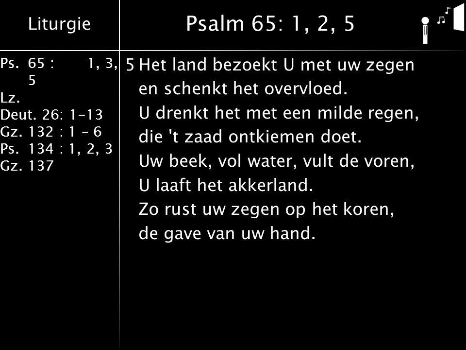 Liturgie Ps.65 : 1, 3, 5 Lz. Deut. 26: 1-13 Gz.132 : 1 – 6 Ps. 134 : 1, 2, 3 Gz. 137 5Het land bezoekt U met uw zegen en schenkt het overvloed. U dren