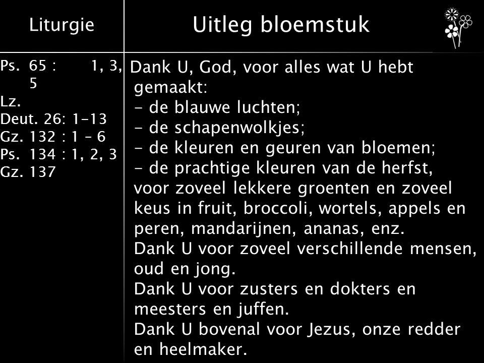 Liturgie Ps.65 : 1, 3, 5 Lz.Deut. 26: 1-13 Gz.132 : 1 – 6 Ps.