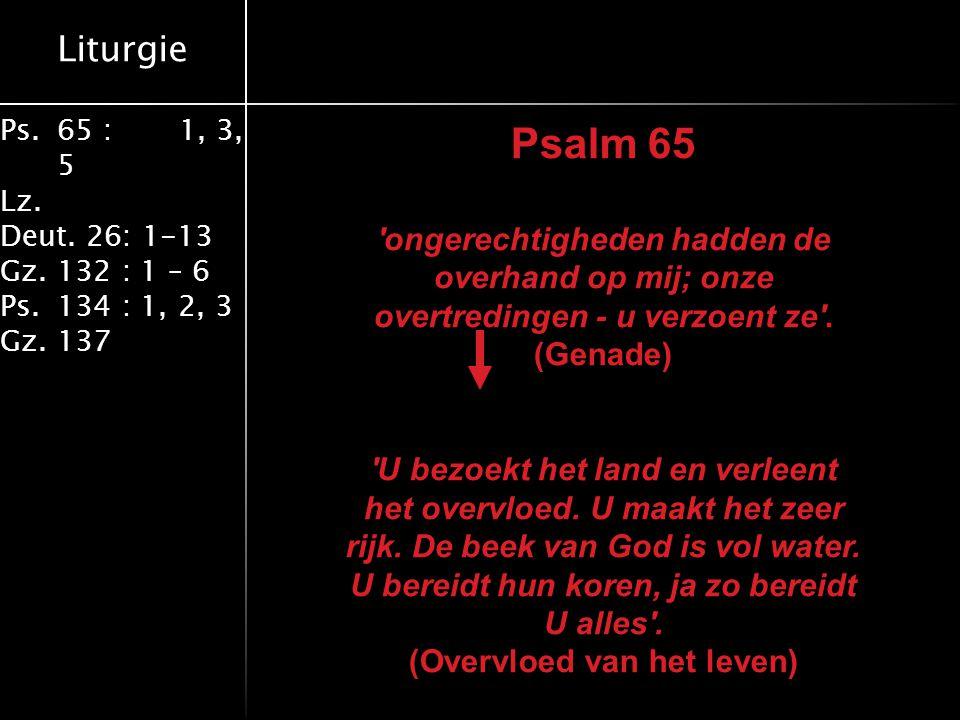 Liturgie Ps.65 : 1, 3, 5 Lz. Deut. 26: 1-13 Gz.132 : 1 – 6 Ps. 134 : 1, 2, 3 Gz. 137 Psalm 65 'ongerechtigheden hadden de overhand op mij; onze overtr