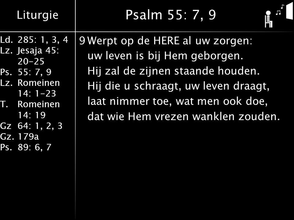 Liturgie Ld.285: 1, 3, 4 Lz.Jesaja 45: 20-25 Ps.55: 7, 9 Lz.Romeinen 14: 1-23 T.Romeinen 14: 19 Gz64: 1, 2, 3 Gz.179a Ps.89: 6, 7 9Werpt op de HERE al uw zorgen: uw leven is bij Hem geborgen.