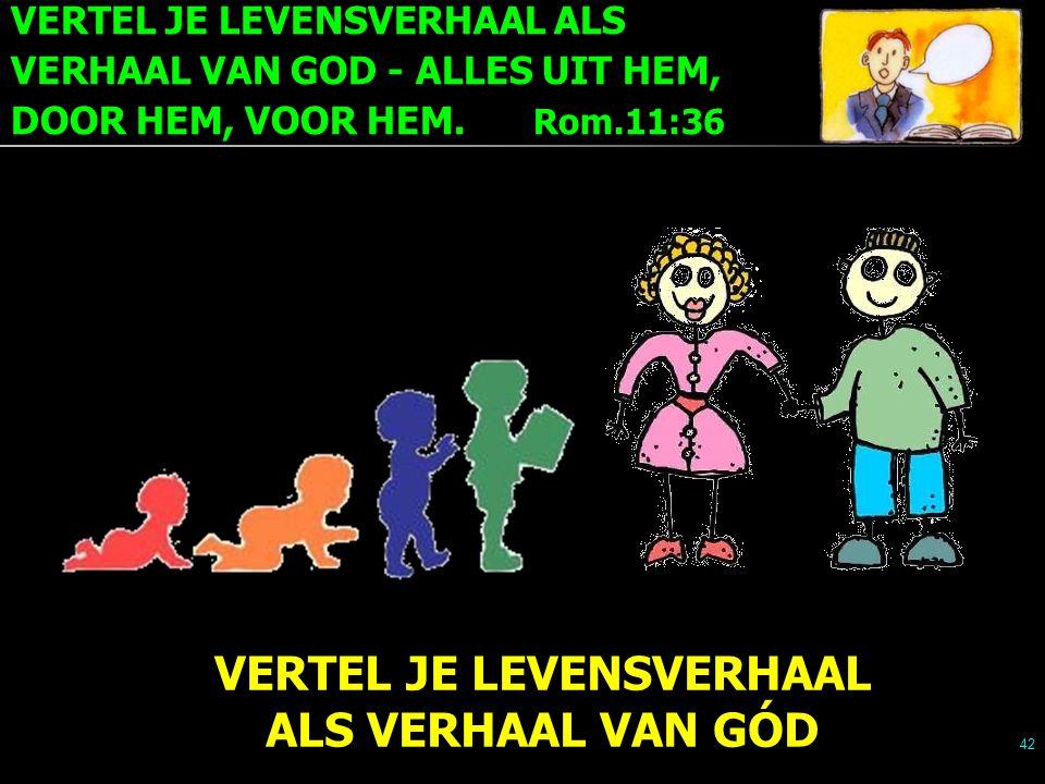 VERTEL JE LEVENSVERHAAL ALS VERHAAL VAN GOD - ALLES UIT HEM, DOOR HEM, VOOR HEM. Rom.11:36 42 VERTEL JE LEVENSVERHAAL ALS VERHAAL VAN GÓD