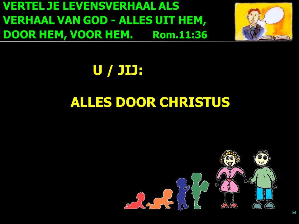 VERTEL JE LEVENSVERHAAL ALS VERHAAL VAN GOD - ALLES UIT HEM, DOOR HEM, VOOR HEM. Rom.11:36 54 U / JIJ: ALLES DOOR CHRISTUS
