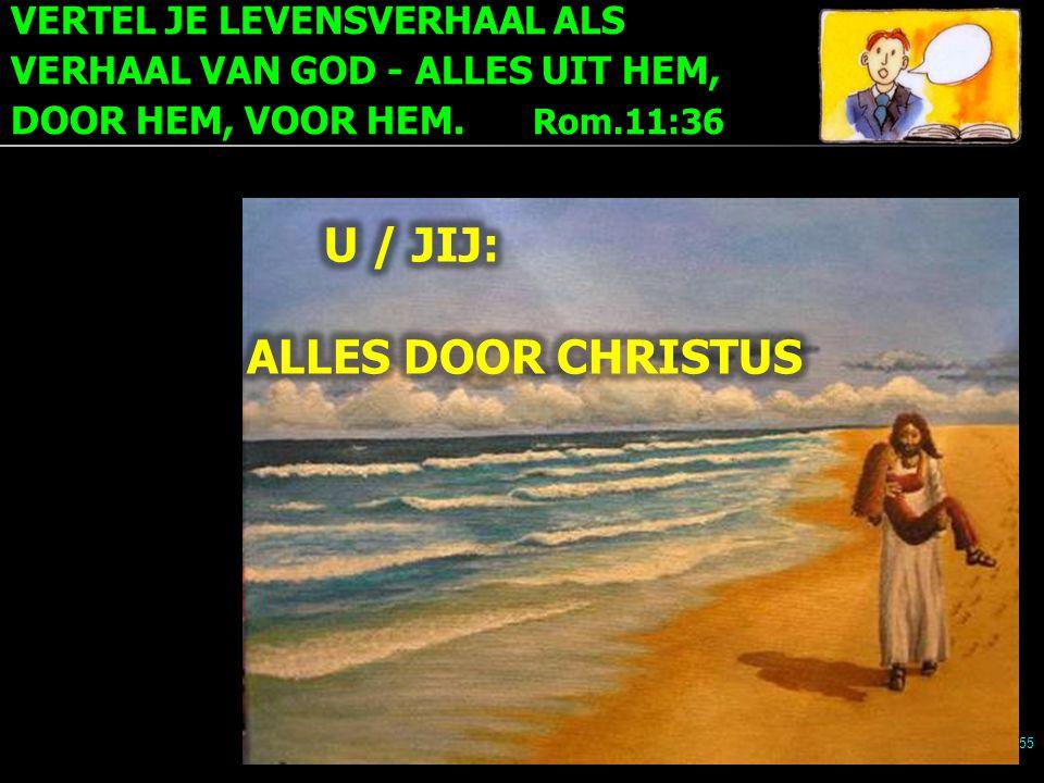 VERTEL JE LEVENSVERHAAL ALS VERHAAL VAN GOD - ALLES UIT HEM, DOOR HEM, VOOR HEM. Rom.11:36 55