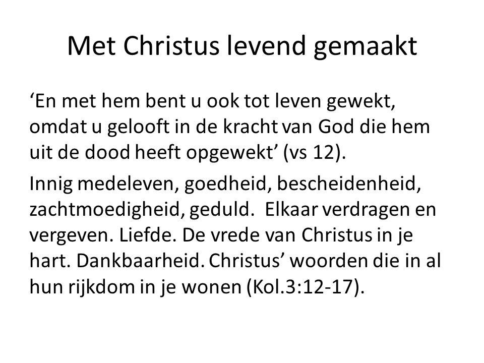 Met Christus levend gemaakt 'En met hem bent u ook tot leven gewekt, omdat u gelooft in de kracht van God die hem uit de dood heeft opgewekt' (vs 12).