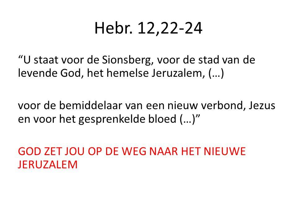 """Hebr. 12,22-24 """"U staat voor de Sionsberg, voor de stad van de levende God, het hemelse Jeruzalem, (…) voor de bemiddelaar van een nieuw verbond, Jezu"""