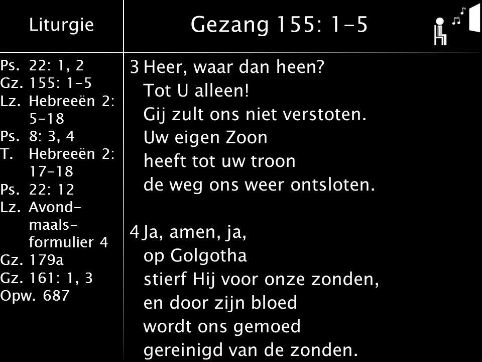 Liturgie Ps.22: 1, 2 Gz.155: 1-5 Lz.Hebreeën 2: 5-18 Ps.8: 3, 4 T.Hebreeën 2: 17-18 Ps.22: 12 Lz.Avond- maals- formulier 4 Gz.179a Gz.161: 1, 3 Opw.687 3Heer, waar dan heen.