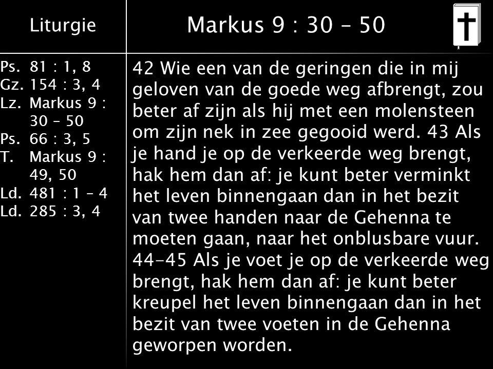 Liturgie Ps.81 : 1, 8 Gz.154 : 3, 4 Lz.Markus 9 : 30 – 50 Ps. 66 : 3, 5 T.Markus 9 : 49, 50 Ld.481 : 1 – 4 Ld.285 : 3, 4 Markus 9 : 30 – 50 42 Wie een